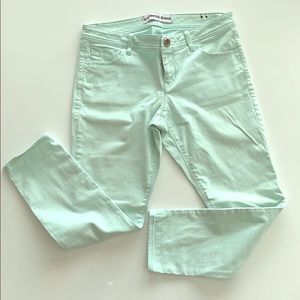Super soft  mint green ankle express jeans
